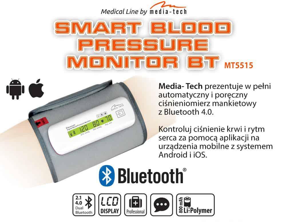 Ciśnieniomierz mankietowy MT5515 BT LCD Android iOS
